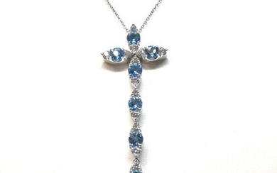 Pasquale Bruni - 18 kt. White gold - Necklace Diamond - Topazs