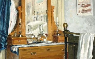 Paul Fischer: A bedroom interior. Signed and dated Paul Fischer 1916. Oil on canvas. 45×35 cm.