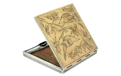 Powder box, Antique compact case with mirror- .750 (18 kt) gold, .800 silver - France - Late 19th century
