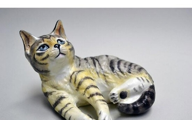 ROYAL WORCESTER PORCELAIN GREY TABBY CAT FIGURINE