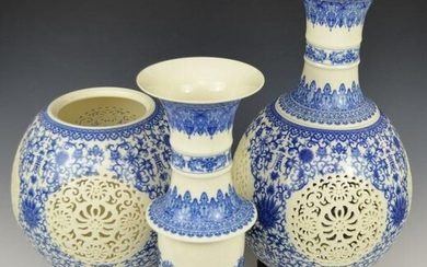 Rare Monumental Reticulated Chinese Porcelain Vases