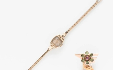 Retro 14kt Gold and Tourmaline Brooch and a Concord 14kt Gold Lady's Wristwatch
