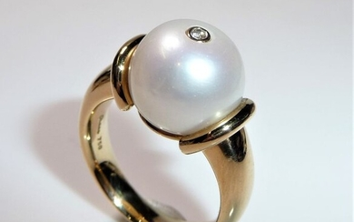 Rüschenbeck - 18 kt. Pink gold - Ring, 15 grams! 0.02 ct. Diamond + South Sea pearl 12.5 mm