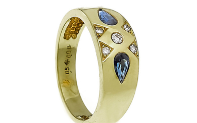 Sapphire-brilliant ring GG 585/000 with 2 fac. Sapphire...