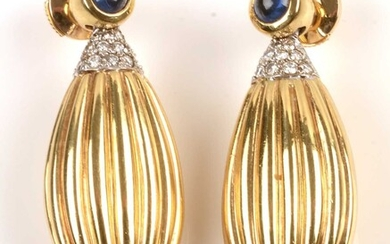 Sapphire, Emerald, Diamond and 18ct gold earrings