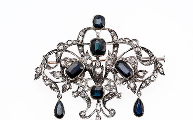 Sapphires and diamonds brooch, early 20th Century.