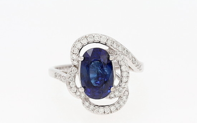 Sapphires and diamonds ring.