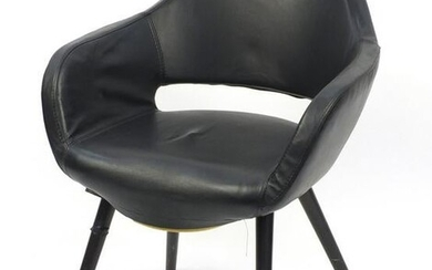 Scandinavian design chair with black faux leather