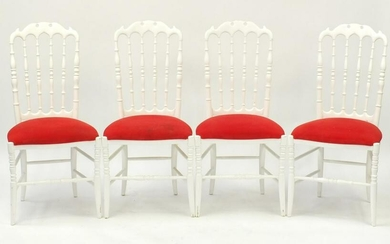Set of four contemporary Italian chairs with red