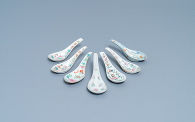 Seven Chinese famille rose spoons, 19/20th C.
