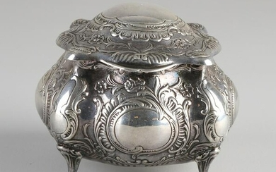 Silver box with lid, 830/000, contoured square model