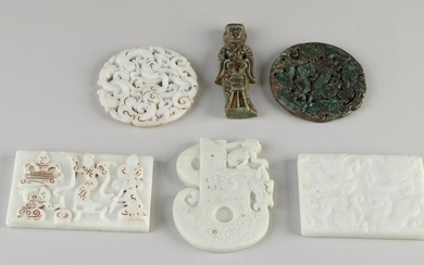 Six Chinese natural stone / jade objects.