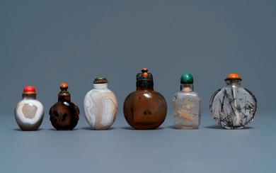 Six Chinese needle quartz and agate snuff bottles,...