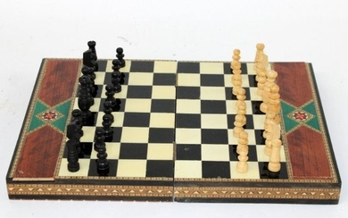 Spanish inlaid exotic wood chess set in box