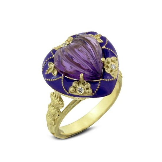 Stambolian Yellow Gold and Purple Enamel Ring with