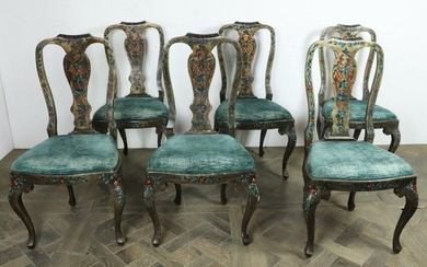Suite of six chairs in lacquered wood with polychrome flower decoration.