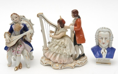 TWO DRESDEN PORCELAIN PARLOUR SCENES TOGETHER WITH A BUST OF BACH