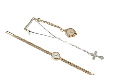 TWO VINTAGE LADY'S GOLD WATCHES, 28 g