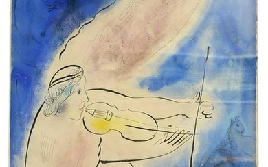 The Angel of the Violin Signed Marc Chagall