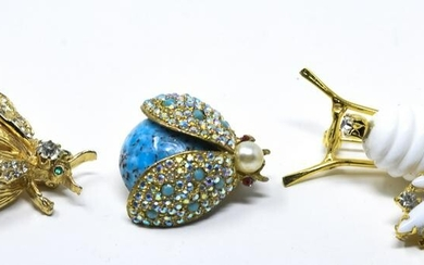 Three Vintage Costume Jewelry Insect Brooch / Pins