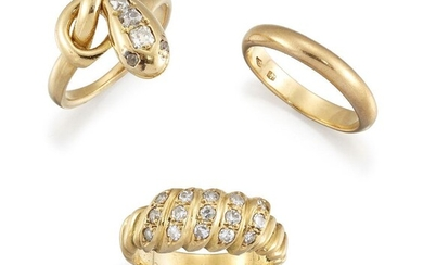 Three rings, comprising: one of serpent design, the old-cut diamond...