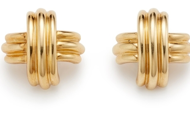 Tiffany & Co., A Pair of Gold 'X' Earrings