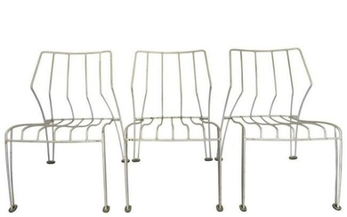 Trio Of metal Stackable Chairs