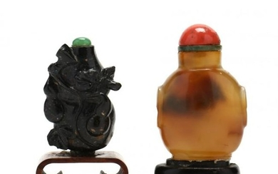 Two Chinese Carved Hardstone Snuff Bottles