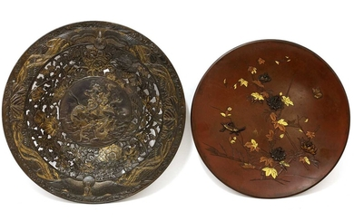 Two Japanese bronze plates