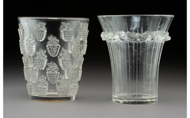Two R. Lalique Clear Glass Table Articles (circa 1935)