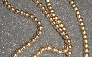 Two vintage 14k gold bead necklaces Mid 20th c. FR3SH