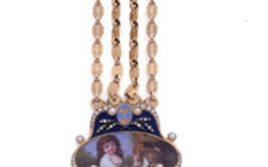 Unsigned Decorative chatelaine; 20K yellow gold, enamel, pearls and diamonds