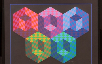"""VICTOR VASARELY (FRENCH/HUNGARIAN, 1906-1997) SCREENPRINT IN COLORS, ON HEAVY WOVE PAPER, 1988 H 29.5"""" W 39.5"""" HEXA 5"""