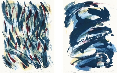 Vibeke Tøjner: Two compositions in one frame. Both signed, numbered and dated. Lithographs in colours. Visible size 37×26 cm. Inside frame measure 49×68 cm.