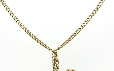 Victorian 14K Rose Yellow Gold Watch Curb Chain