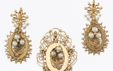 Victorian Style Brooch and Matching Earrings