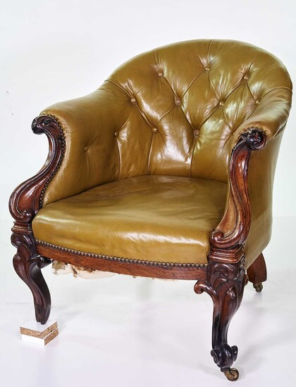 Victorian button-back upholstered chair