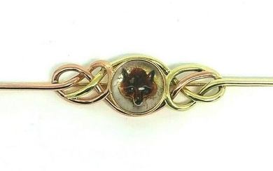 Vintage CALDWELL Fox Reverse Painting Yellow Rose Gold