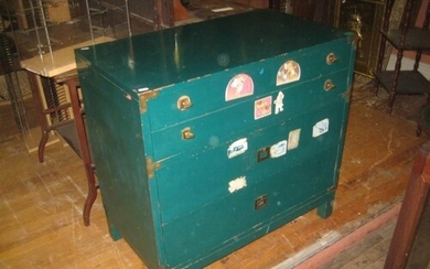 Vintage Military style 3 Drawer Chest painted Green (Height ...