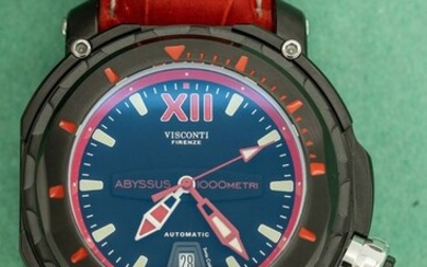 """Visconti - Abyssus Full Dive 1000 Black PVD Red Tone Leather Croco Strap Made in Italy- KW51-03 """"NO RESERVE PRICE"""" - Men - NEW"""