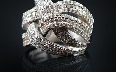 White Gold and Pave Diamond Knot Cluster Ring