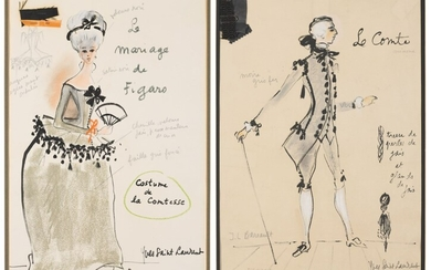 Yves Saint Laurent (1936-2008), Two costume designs for Costume de la Comtesse and Le Comte, from the Marriage of Figaro