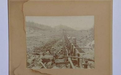 c1890 MINING OPERATION, HORSE DRAWN CART, MINER
