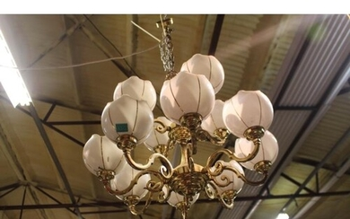 12 Branch Brass Ceiling Light with White Glass Shades