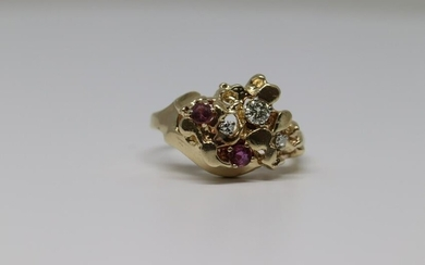 14kt Nugget Ring with Ruby's And Diamonds