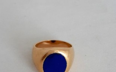 18 kt. Gold, Yellow gold - Ring, Chevaliere Lapis lazuli