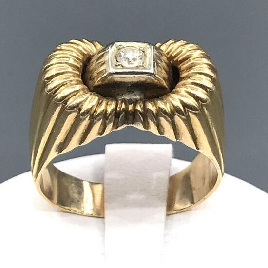 18 kt. Yellow gold - Ring - 0.08 ct Diamond