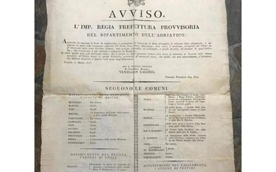 1815 Venice Italy, Large Printed Public Notice