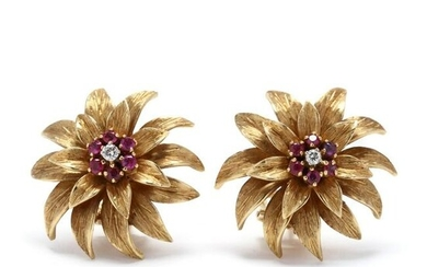 18KT Gold and Gem-Set Earrings, Tiffany and Co.