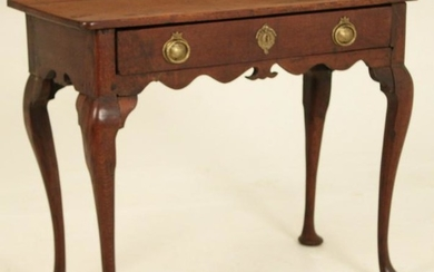 18TH C. QUEEN ANNE OAK ONE DRAWER TABLE